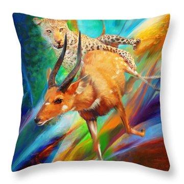 Leopard Attack Throw Pillow