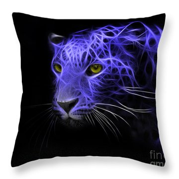Leopard Fractal Blue Throw Pillow
