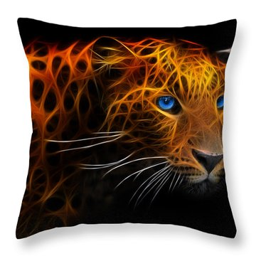 Leopard Fraktal Throw Pillow by Bruno Santoro