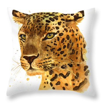 Leopard Gaze Throw Pillow by Alison Fennell