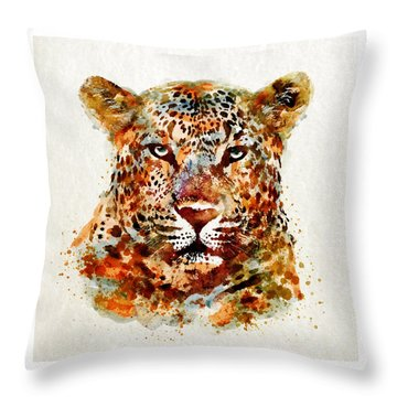 Leopard Head Watercolor Throw Pillow by Marian Voicu