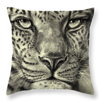 Throw Pillow featuring the drawing Leopard by Heidi Kriel