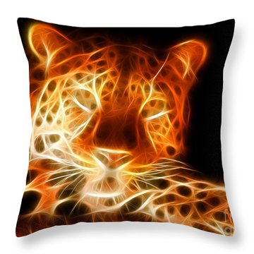 Leopard Intimidating Look Throw Pillow by Pamela Johnson
