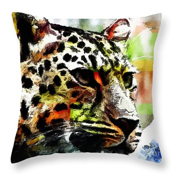 Throw Pillow featuring the painting Leopard - Leopardo by Zedi