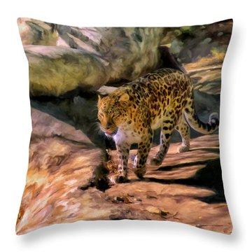 Leopard Throw Pillow by Michael Pickett