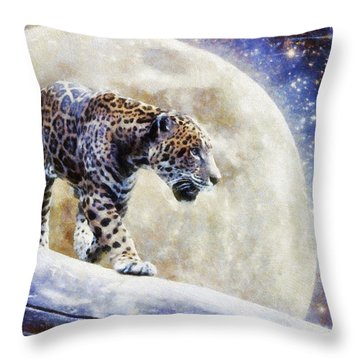 Leopard Moon Throw Pillow by Greg Collins