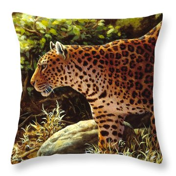 Leopard Painting - On The Prowl Throw Pillow by Crista Forest