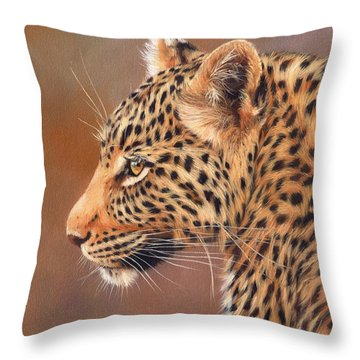 Leopard Portrait Throw Pillow by David Stribbling