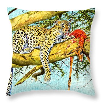 Leopard With A Kill Throw Pillow