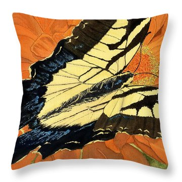 Throw Pillow featuring the painting Lepidoptery by Joel Deutsch
