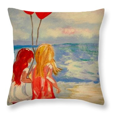 Les Ballons Rouges Throw Pillow