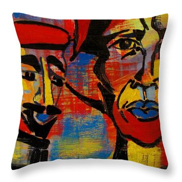 Les Gens A La Lac Three Throw Pillow by Grace Liberator