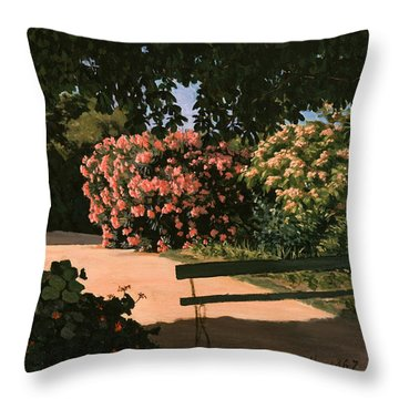 Les Lauriers Roses, 1867 Oil On Canvas Throw Pillow