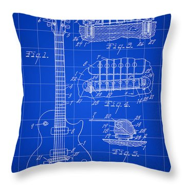 Les Paul Guitar Patent 1953 - Blue Throw Pillow by Stephen Younts