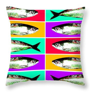 Les Sardines Throw Pillow