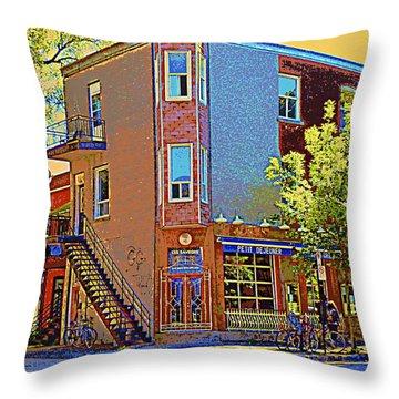 Les Saveurs Cafe Resto Grillades Tapas Petit Dejeuner Montreal French Cafe City Scene Carole Spandau Throw Pillow by Carole Spandau