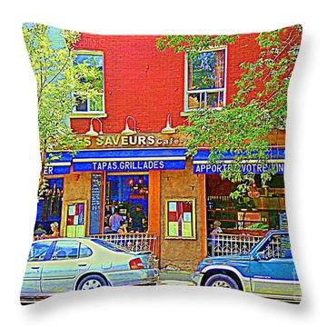 Les Saveurs Tapas Grillades Apportez Votre Vin Montreal Cafe Art Scene By Carole Spandau Throw Pillow by Carole Spandau