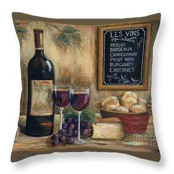 Les Vins Throw Pillow by Marilyn Dunlap