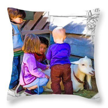Lessons In Petting A Goat Throw Pillow by John Haldane