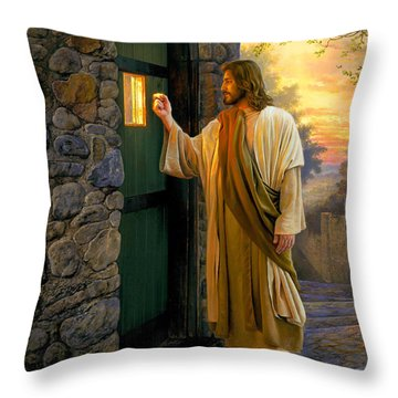Throw Pillow featuring the painting Let Him In by Greg Olsen