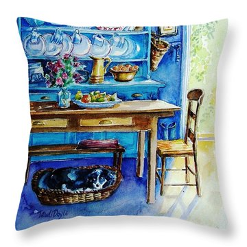 Let Sleeping Dogs Lie Throw Pillow by Trudi Doyle