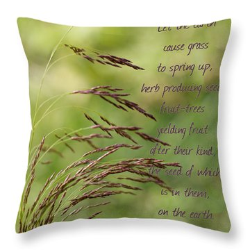 Let The Earth Bring Forth Grass Genesis Throw Pillow