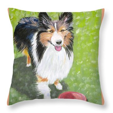 Let Us Play  Border Collie Throw Pillow by Phyllis Kaltenbach