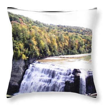 Throw Pillow featuring the photograph Letchworth State Park Middle Falls Panorama by Rose Santuci-Sofranko