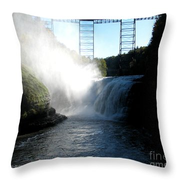 Letchworth State Park Upper Falls And Railroad Trestle Throw Pillow