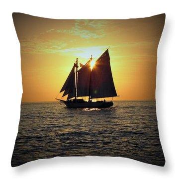 A Key West Sail At Sunset Throw Pillow