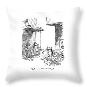 Let's Swap Some Cats Today Throw Pillow