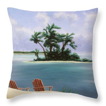 Let's Swim Out To The Island Throw Pillow