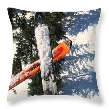 Lets Toast Our Skis Together Throw Pillow by Kym Backland