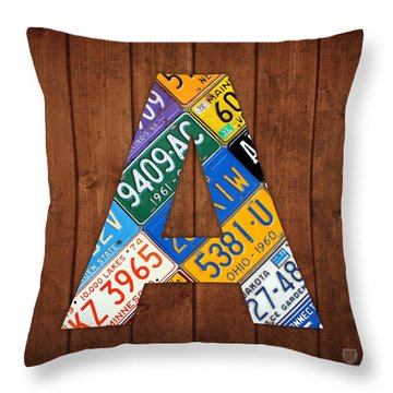 Letter A Alphabet Vintage License Plate Art Throw Pillow by Design Turnpike