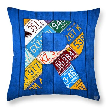 Letter R Alphabet Vintage License Plate Art Throw Pillow by Design Turnpike