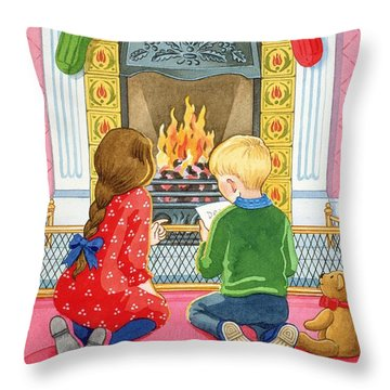 Letter To Father Christmas Throw Pillow by Lavinia Hamer