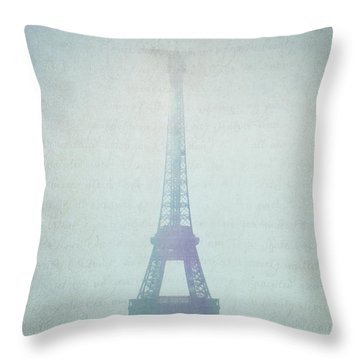 Letters From Paris Throw Pillow by Lisa Parrish