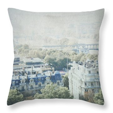 Letters From The Seine - Paris Throw Pillow by Lisa Parrish