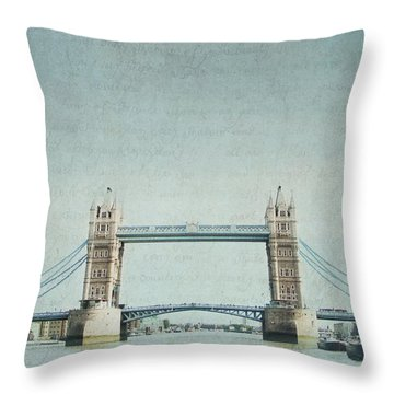 Letters From Tower Bridge - London Throw Pillow by Lisa Parrish