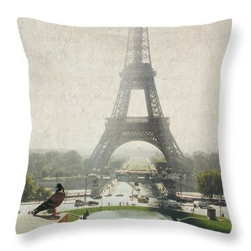 Letters From Trocadero - Paris Throw Pillow by Lisa Parrish