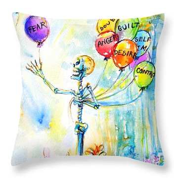 Letting Go Throw Pillow by Heather Calderon