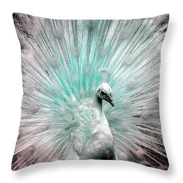 Leucistic White Peacock Throw Pillow