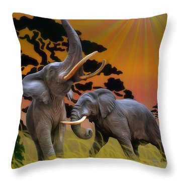 Leviathans Of The Land Throw Pillow