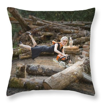 Levitating Housewife - Cutting Firewood Throw Pillow