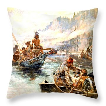 Lewis And Clark On The Lower Columbia  Throw Pillow