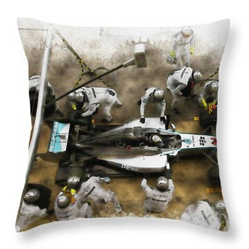 Lewis Hamilton Of Britain Service The Car At Pit Stop Throw Pillow