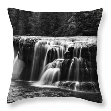 Lewis River Lower Falls Black And White Throw Pillow