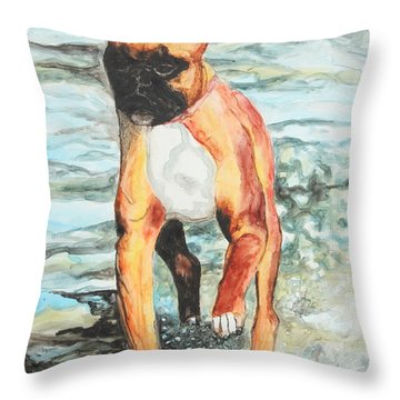 Throw Pillow featuring the painting Leyla by Jeanne Fischer
