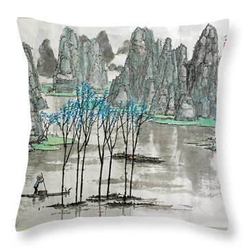 Li River In Spring Throw Pillow by Yufeng Wang