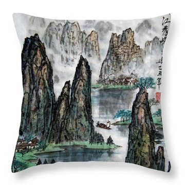Li River Throw Pillow by Yufeng Wang